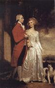Sir Christopher and Lady Sykes strolling in the garden at Sledmere George Romney