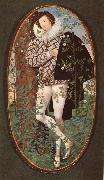 An unknown Youth Leaning against a tree among roses Nicholas Hilliard