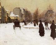The Boulevard de Clichy Under Snow Norbert Goeneutte