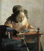 Lace embroidery woman Johannes Vermeer
