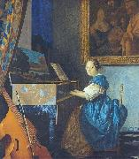 A Young Woman Seated at the Virginal with a painting of Dirck van Baburen in the background Johannes Vermeer