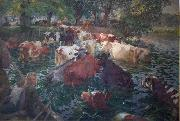 Cows crossing the Lys River Emile Claus