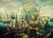 The explosion of the Spanish flagship during the Battle of Gibraltar, 25 April 1607. Hendrik Cornelisz. Vroom