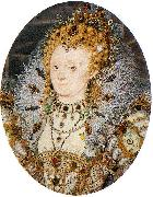 Portrait miniature of Elizabeth I of England with a crescent moon jewel in her hair Nicholas Hilliard