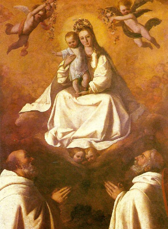 Francisco de Zurbaran the virgin of mercy with two mercedarians