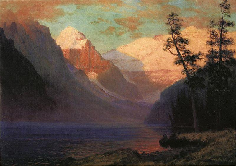 Albert Bierstadt Evening Glow at Lake Louise, Rocky Mountains, Canada