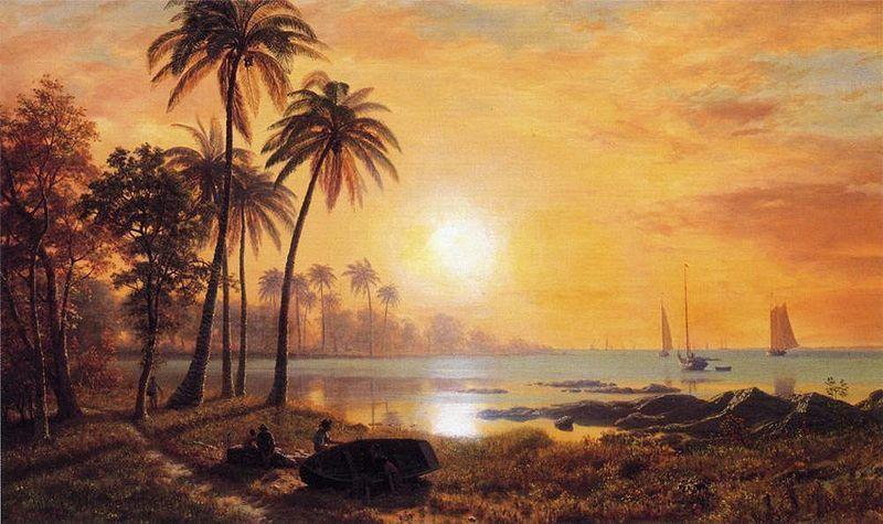 Albert Bierstadt Tropical Landscape with Fishing Boats in Bay