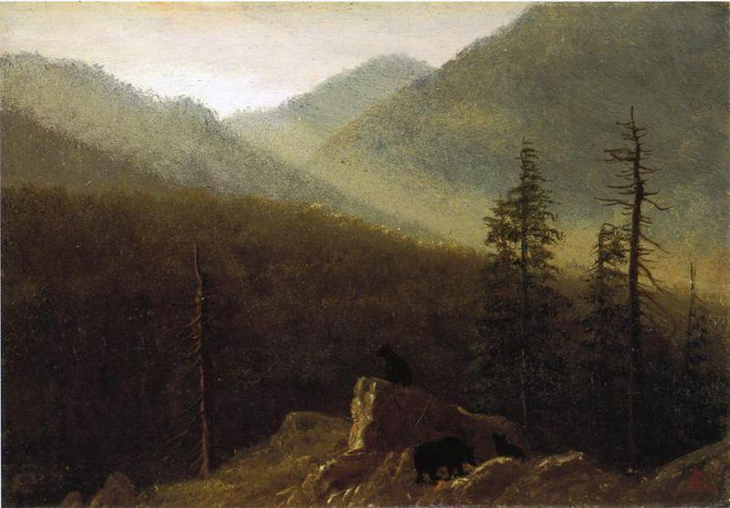 Albert Bierstadt Bears in the Wilderness