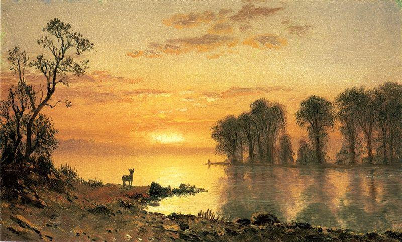 Albert Bierstadt Sunset, Deer and River
